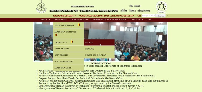 GCET Application Form 2018