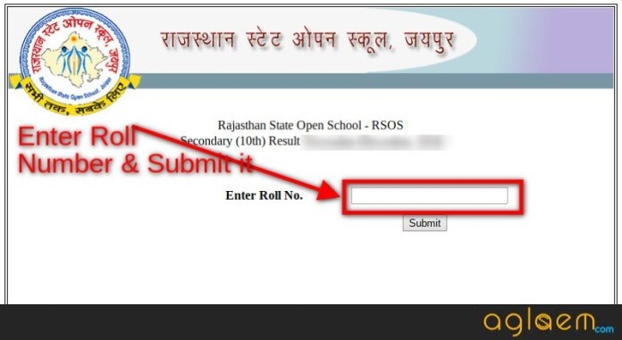 Rajasthan State Open School Result 2018 for 10th Class
