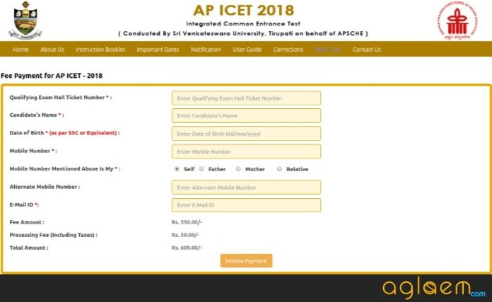 AP ICET Application Form 2018