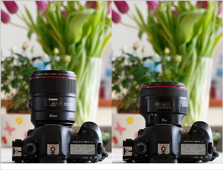 Het formaat van de EF 85mm f/1,4L IS brengt iets minder balans (met één hand fotograferen is minder makkelijk) maar een camera met deze lens ligt wel stabieler in de hand.