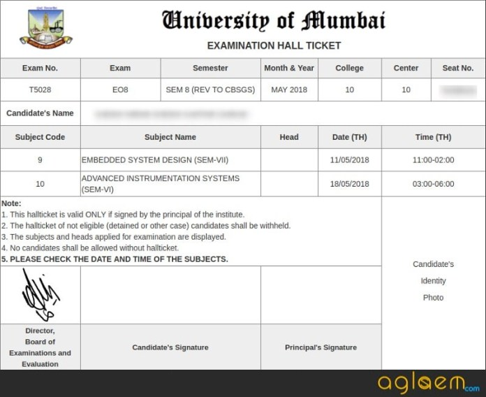 MU Sem Hall Ticket 2018