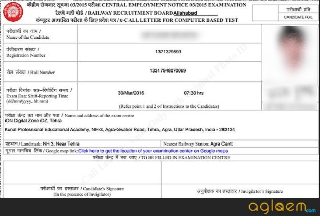 RRB Group D Admit Card by Chandigarh