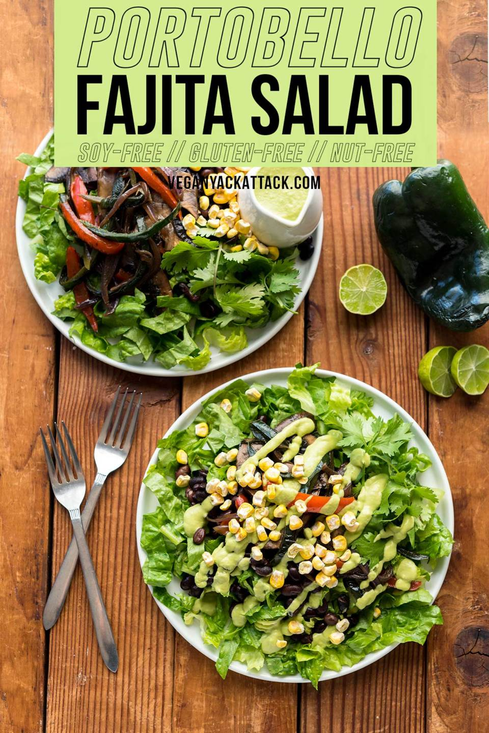 Need dinner in a pinch? This Portobello Fajita Salad from Vegan Yack Attack On the Go! is packed with flavor and comes together in under 30 minutes. You'll want the creamy avocado dressing on everything! Soy-free, Gluten-free, & Nut-free, to boot!