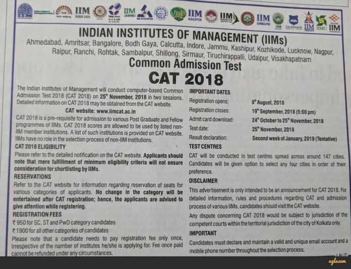 CAT 2018 Notification