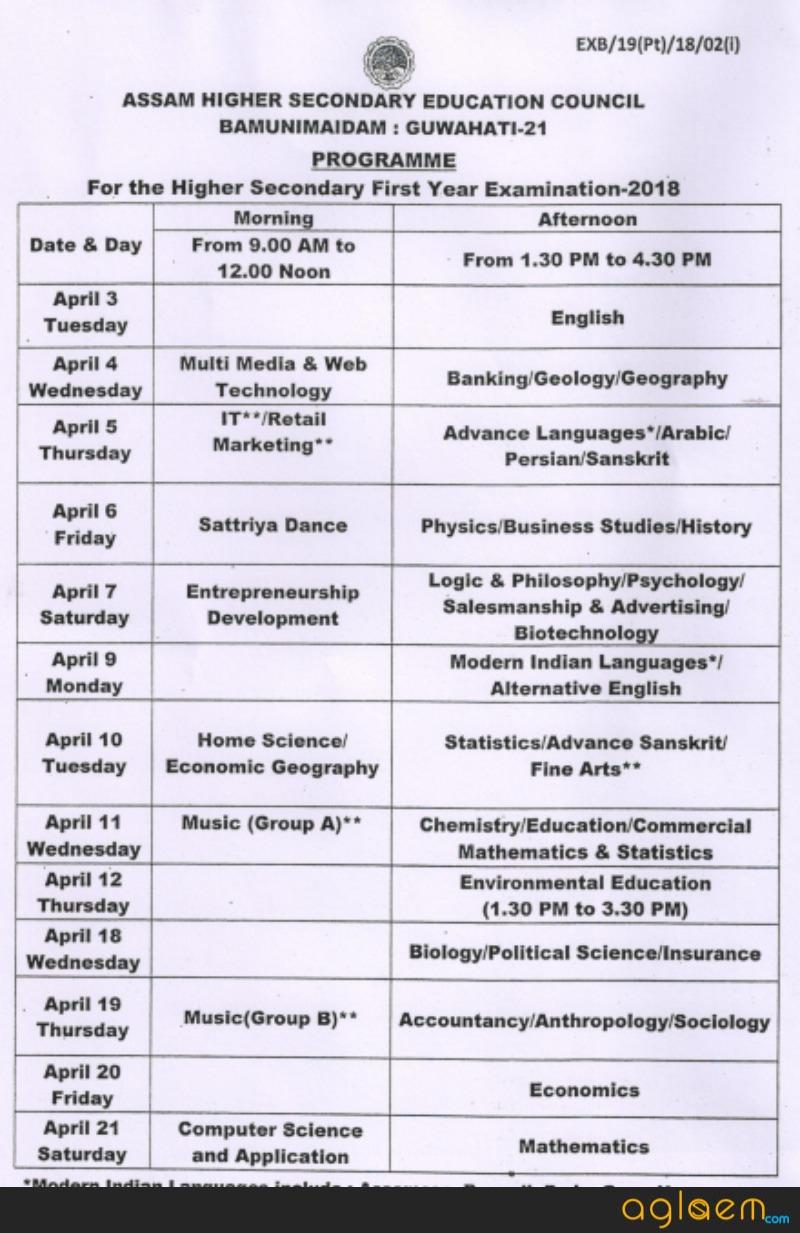 Assam HS 1st Year Exam Routine 2018