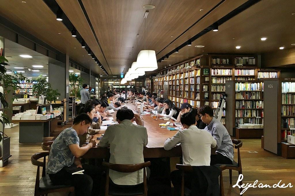 Patrons reading books inside Kyobo Book Center