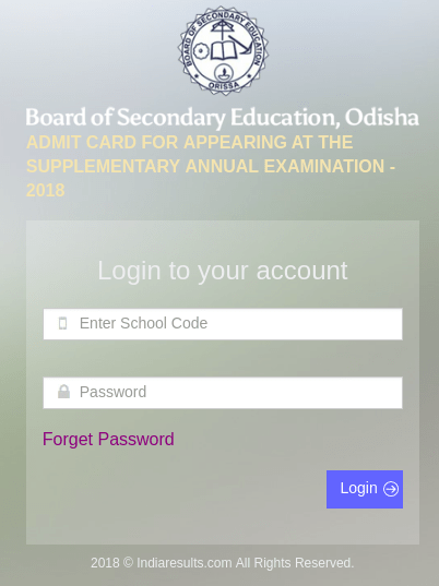 Odisha HSC Supplementary Admit Card 2018