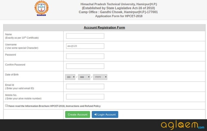 HPCET Online Application Form 2018