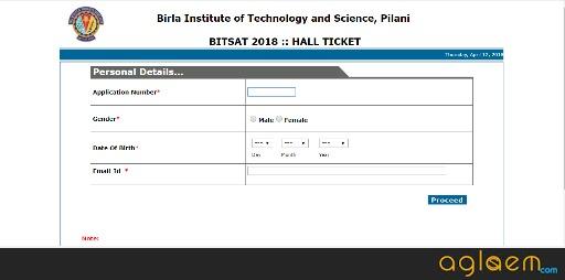 BITSAT 2018 Admit Card