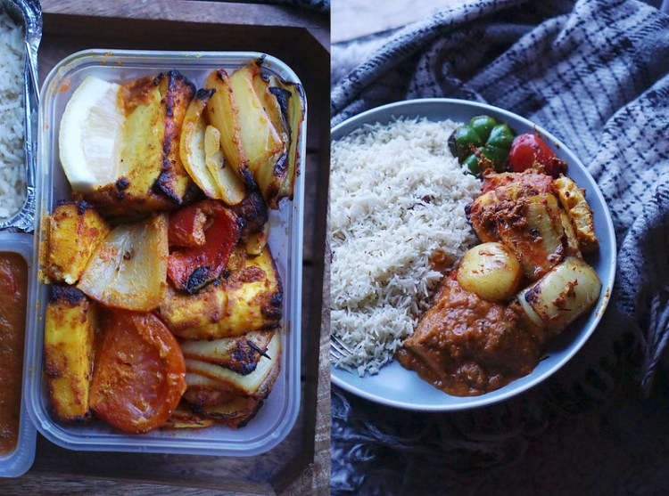 Tandoori paneer kebab, chicken curry and pilau rice from The Tiffin Tin in Tufnell Park, North London | Gluten free Finsbury Park | Gluten free takeaways in North London
