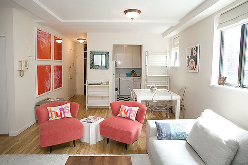 Ideas For Small Spaces All White With A Dash Of Pink J
