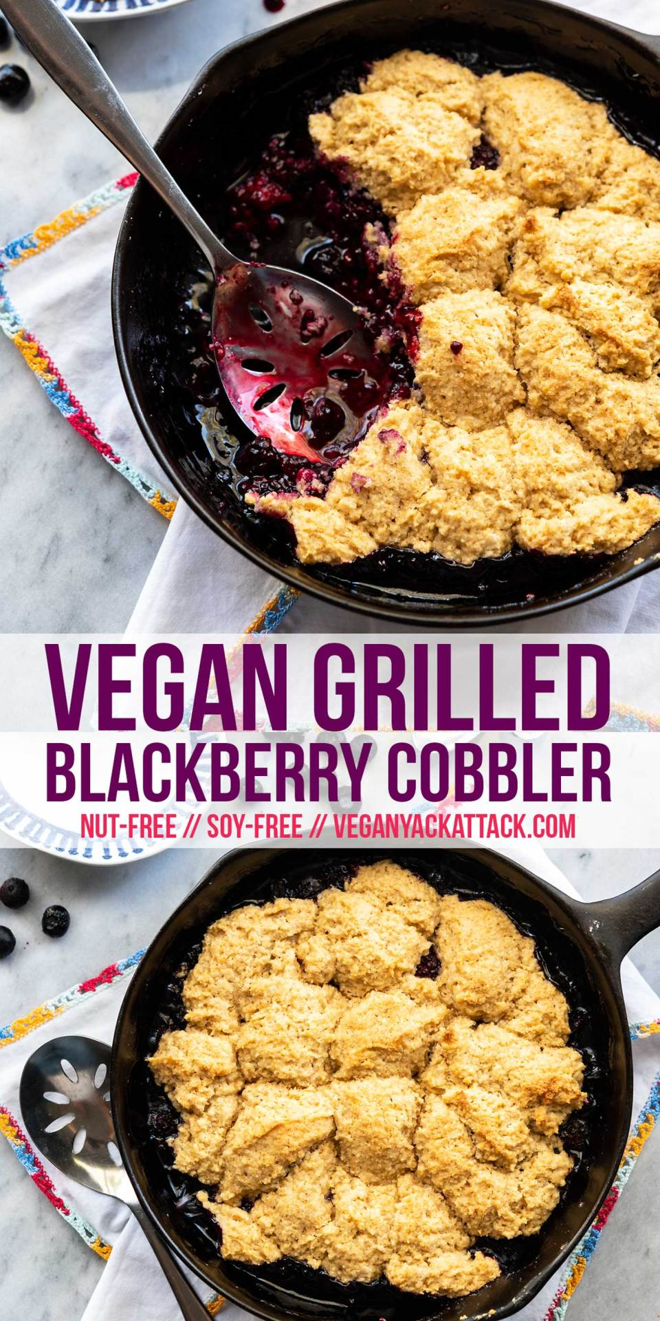 No need to heat up your kitchen with the oven this summer, make this Grilled Blackberry Cobbler. A fluffy biscuit topping, fresh berries, and super delicious; plus, vegan!