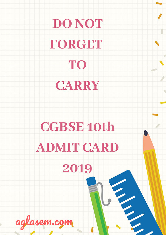 CGBSE 10th Admit Card 2019