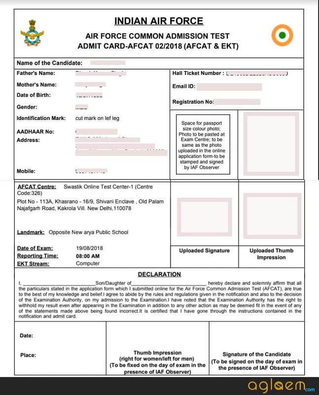Specimen copy of AFCAT Admit Card