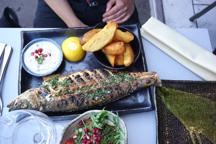 Gluten free grilled sea bass with salad, chips and tartar sauce from Skewd Kitchen in Cockfosters | Gluten free Cockfosters | Gluten free North London | Gluten free Barnet | Gluten free Turkish restaurant
