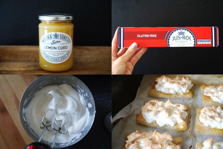 Easy gluten free lemon meringue pastry slices made using Jus-Rol gluten free puff pastry, Tiptree lemon curd and homemade fresh meringue | gluten free baking | gluten free recipes