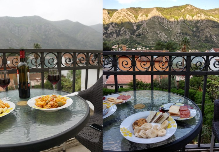 Gluten free sausage, olives and pesto pasta + banana, cookies, yoghurt, salami and Schar crackers in Kotor, Montenegro | My gluten free experience in Montenegro