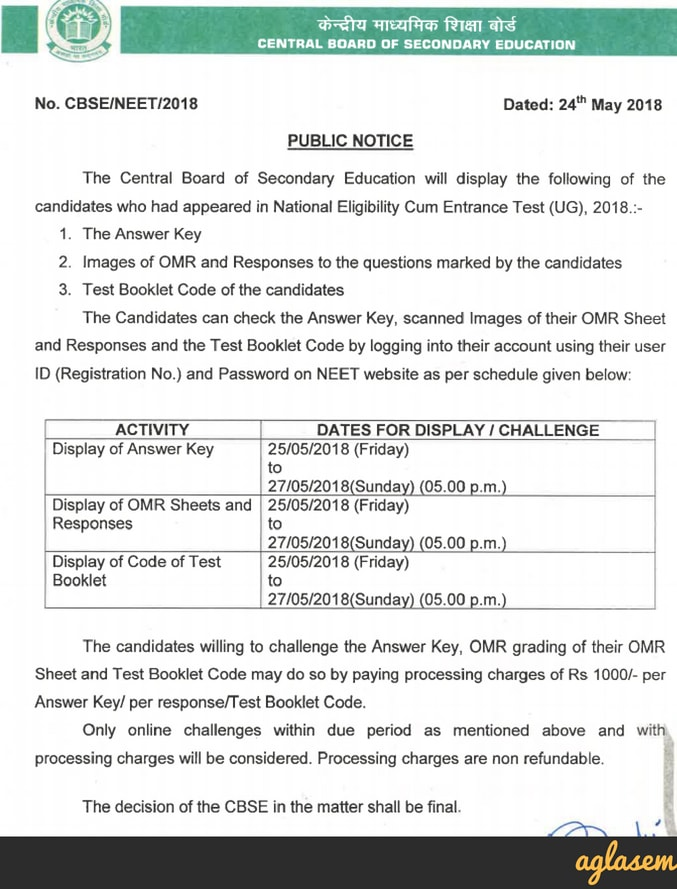 NEET 2018 Official Answer Key (Released) – Check NEET 2018 Answer Key by CBSE