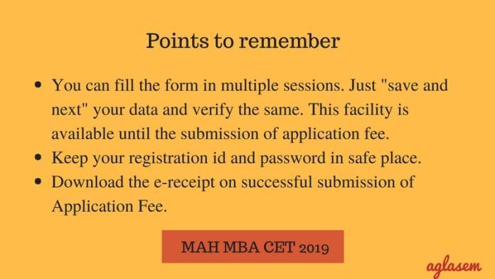 MBA CET 2019 Registration Points