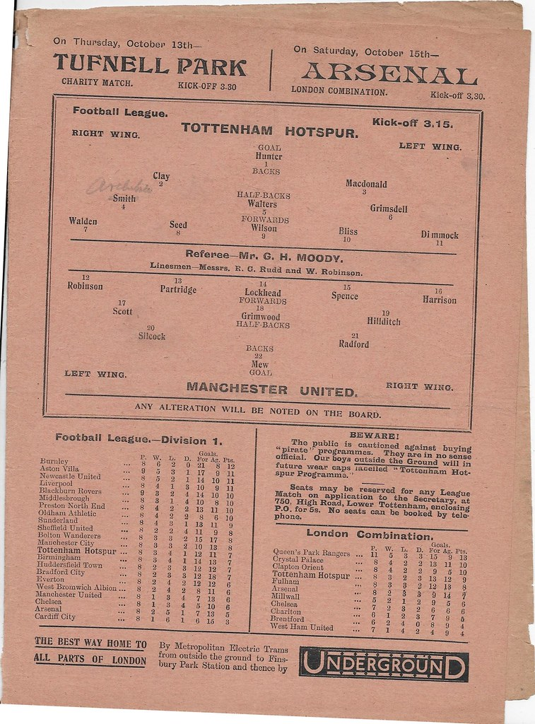 TOTTENHAM V MANCHESTER UNITED 192122 Manchester United