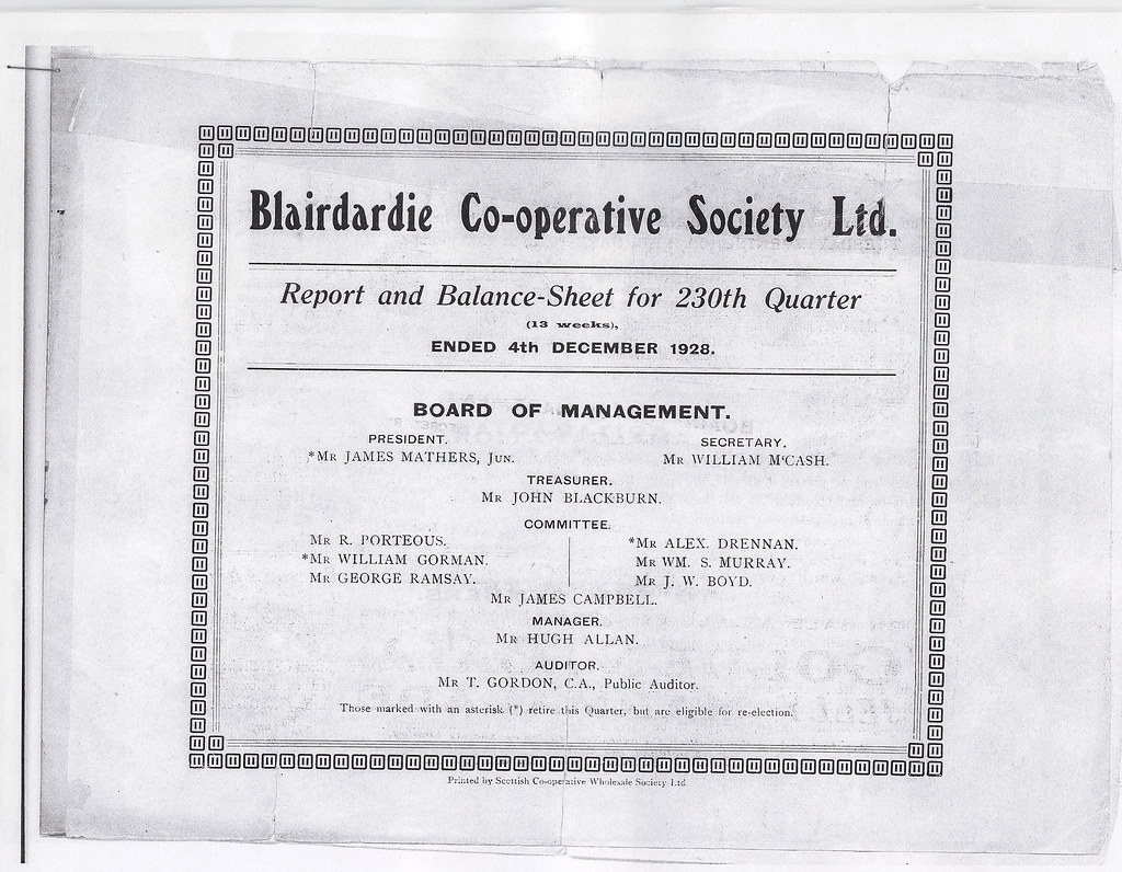 Blairdarco Operative Society Report And Balance Sheet 239th Quarter