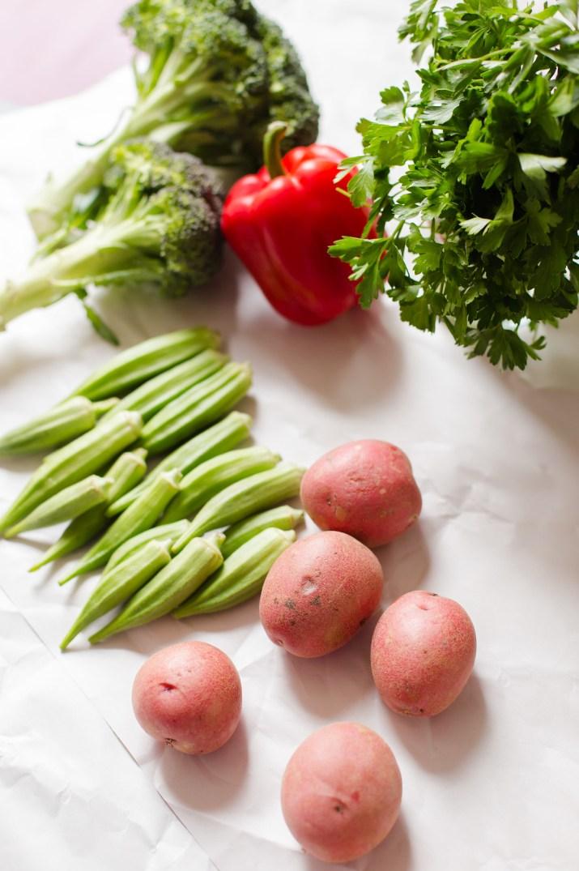 Roasted Potato, Okra and Broccoli