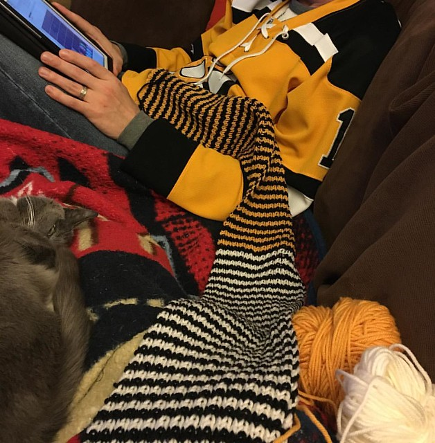 In a lucky twist of fate, this once-secret scarf perfectly matches the mister's recently purchased #Bruins jersey. #stadiumscarf #ravelry #churchmouse #catstagram