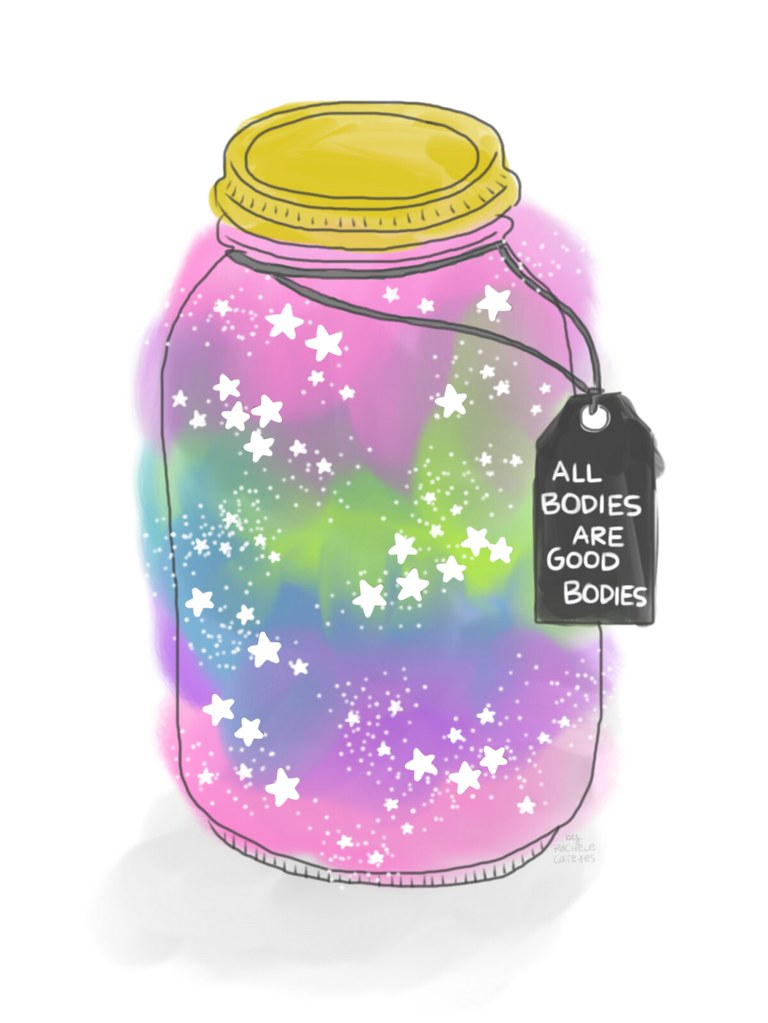 Drawing of a galaxy jar with a tag attached with the above words] by Rachele Cateyes