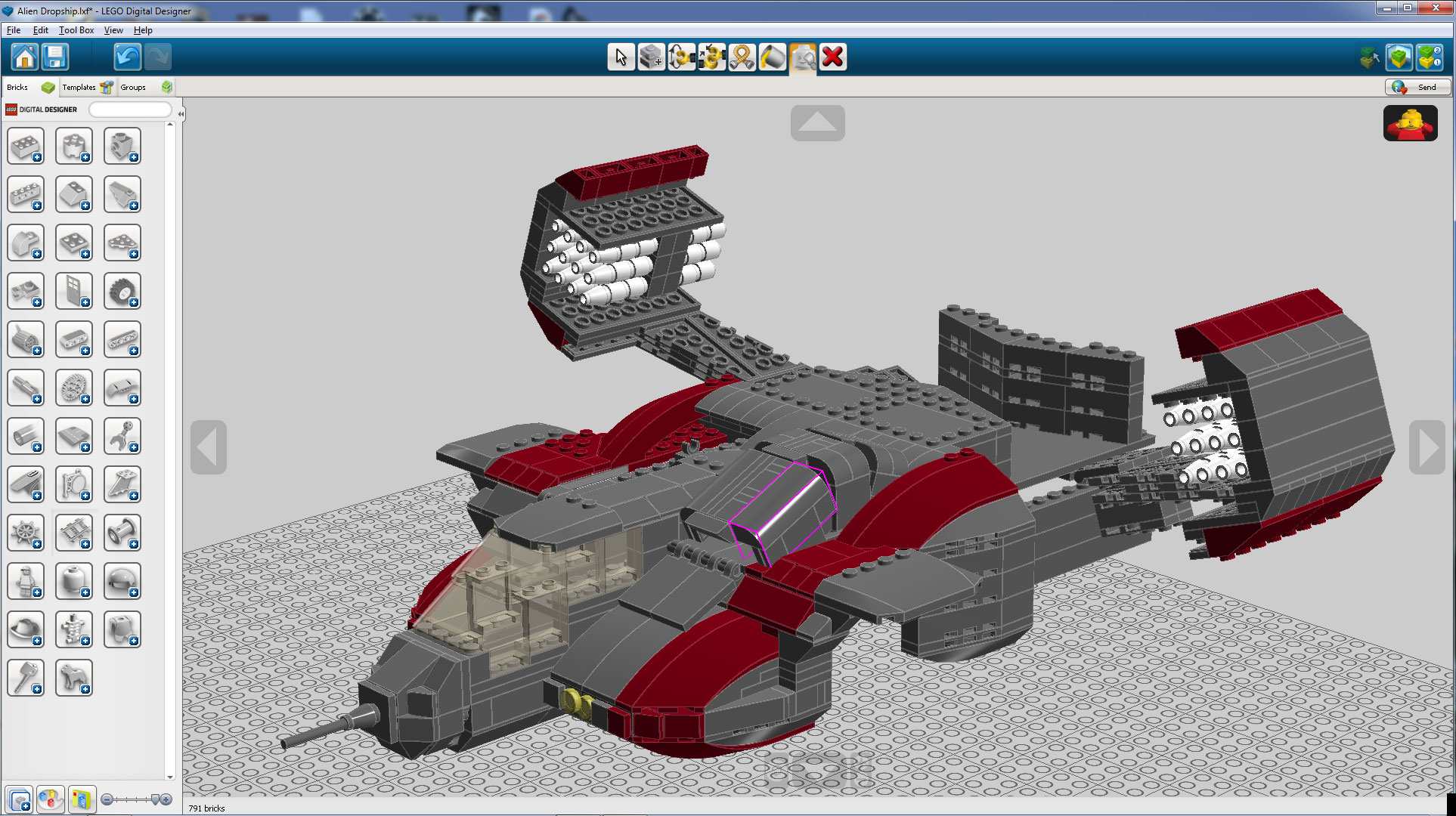 Screen shot of Lego Dropship built in Lego Digital Designer - front half done