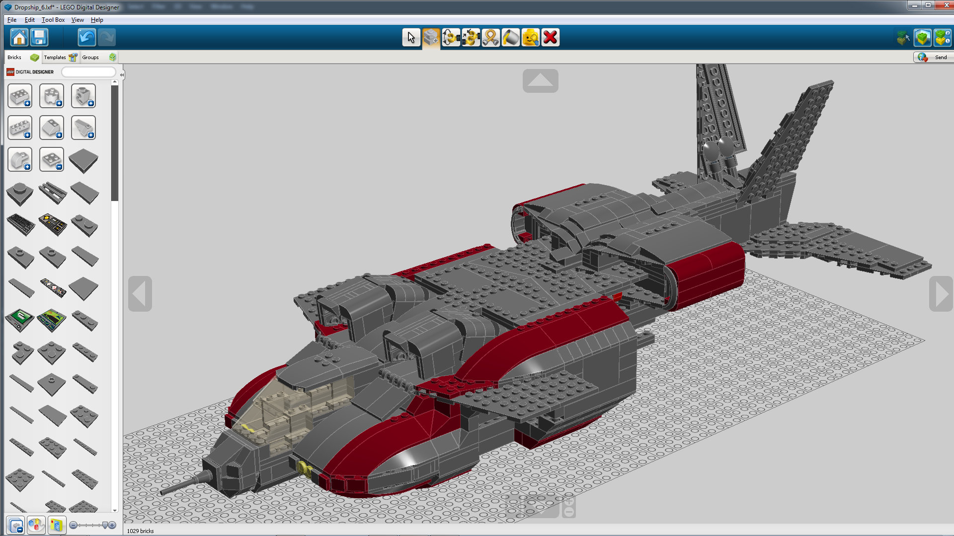 Screen shot of Lego Dropship built in Lego Digital Designer