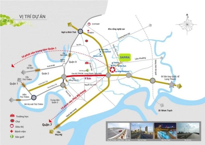 Vị trí dự án Safira Khang Điền Quận 9 - Tọa lạc trên đường Võ Chí Công, cách Cao tốc Sài Gòn - Long Thành chỉ 500m