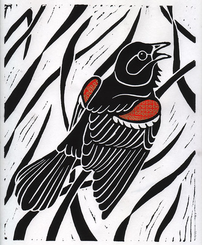 Red Winged Blackbird Linocut Print This Is My First