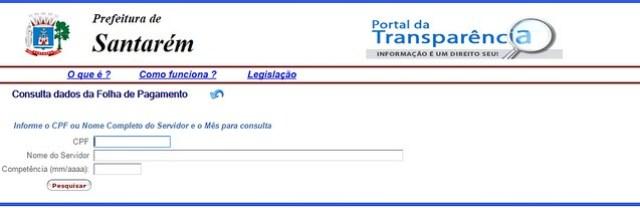 Ajuizada ação contra prefeitura por impedir acesso livre ao salário do servidor, Portal a Transparência de Santarém