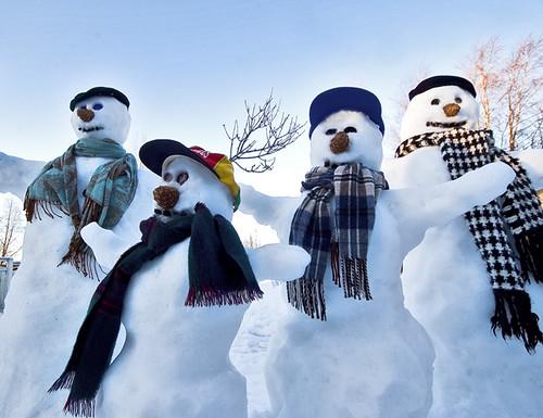Snowman Family Happy Valentines Day Henri Bonell