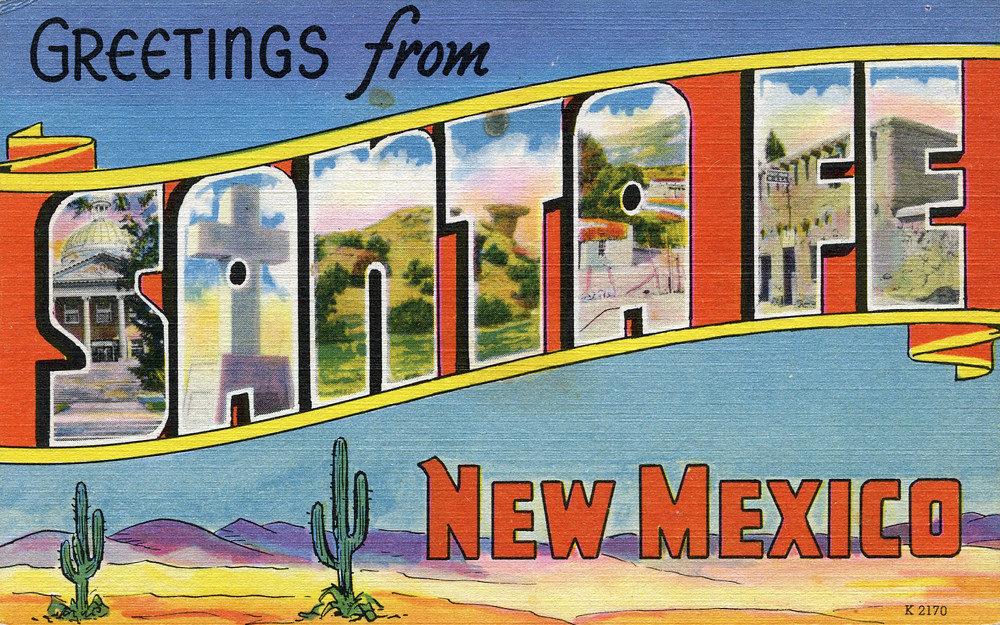 Greetings santa fe new mexico large letter postcar, old english letter b