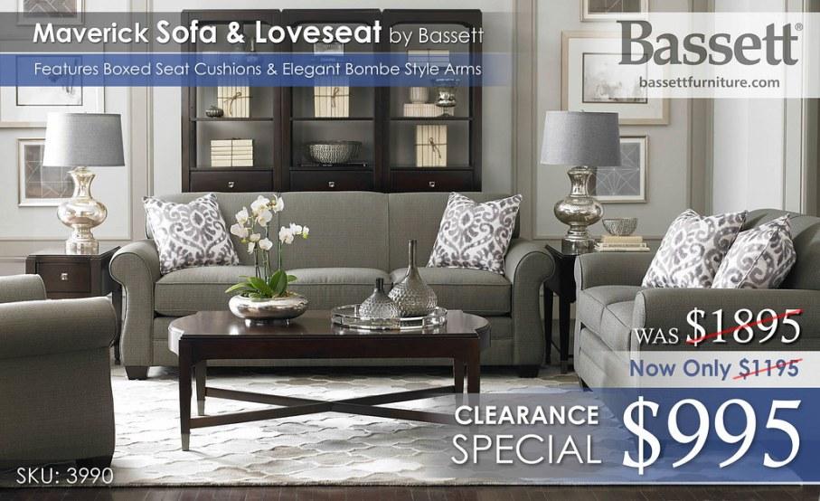 Maverick Sofa Collection Graphite Bassett 3990 New
