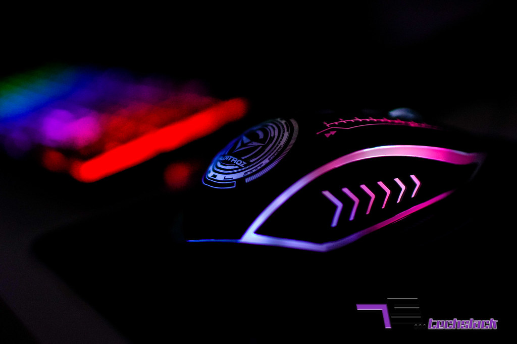 The rubberized materials with race track pattern is where the light show happen.