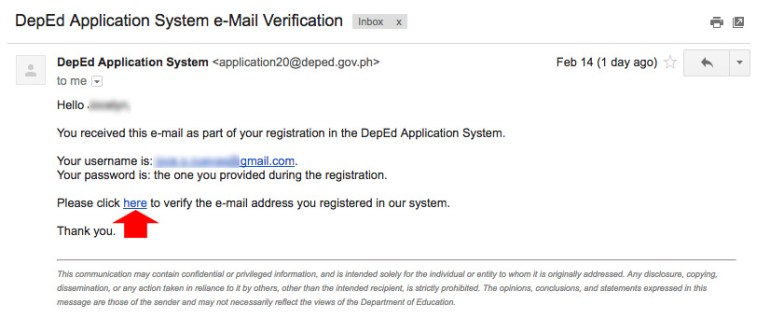 Email Verification - DepEd online application