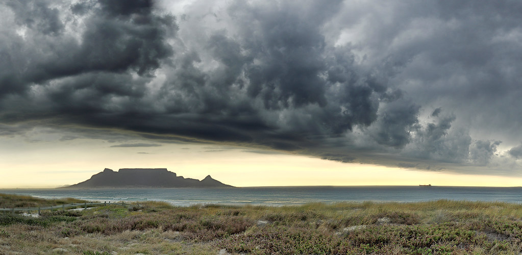 Ominous Table Mountain As Viewed From Bloubergstrand On