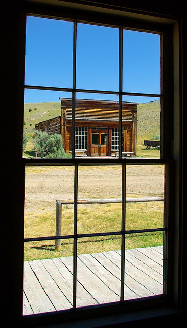 Skinner's Saloon through a window in a building across the street, Bannack, Montana, July 30, 2010