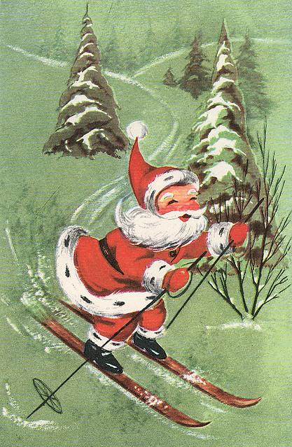 Santa On Skis Image From Vintage Christmas Card