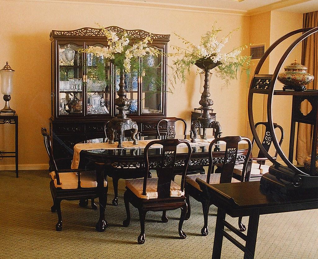 Asian Korean Chinese Dining Room Table Interior Design Set