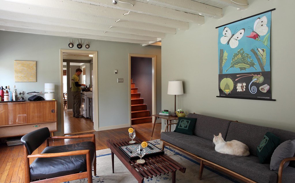 Living Room Danish Modern Influenced Throughout The