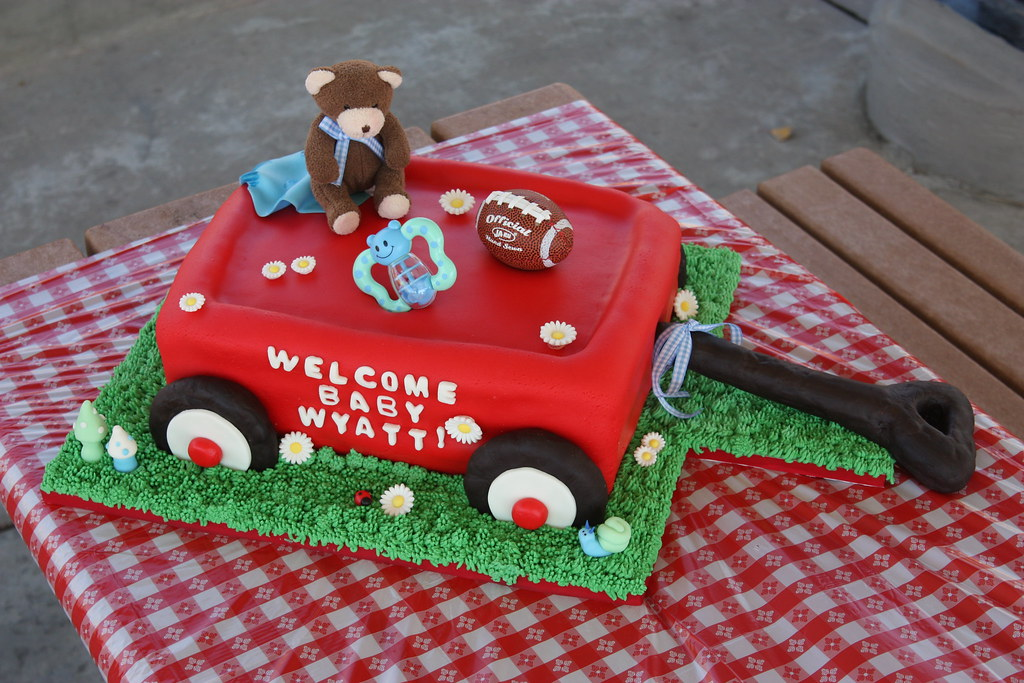 Red Wagon Cake Made This For A Boy Baby Shower Three