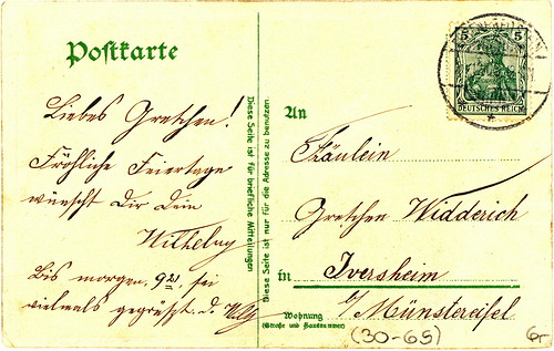 WWI German Christmas Postcard Back Many Thanks To My