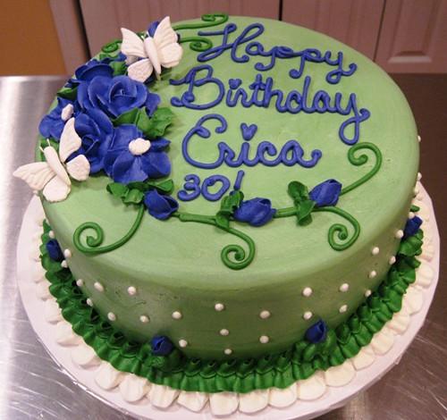 Erica S 30th Birthday Purple Flowers On Sage Green