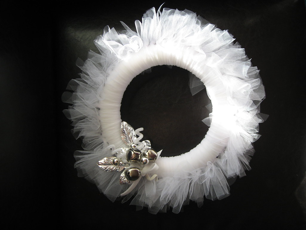 White Tulle Wreath With Faux Vintage Christmas Corsage For