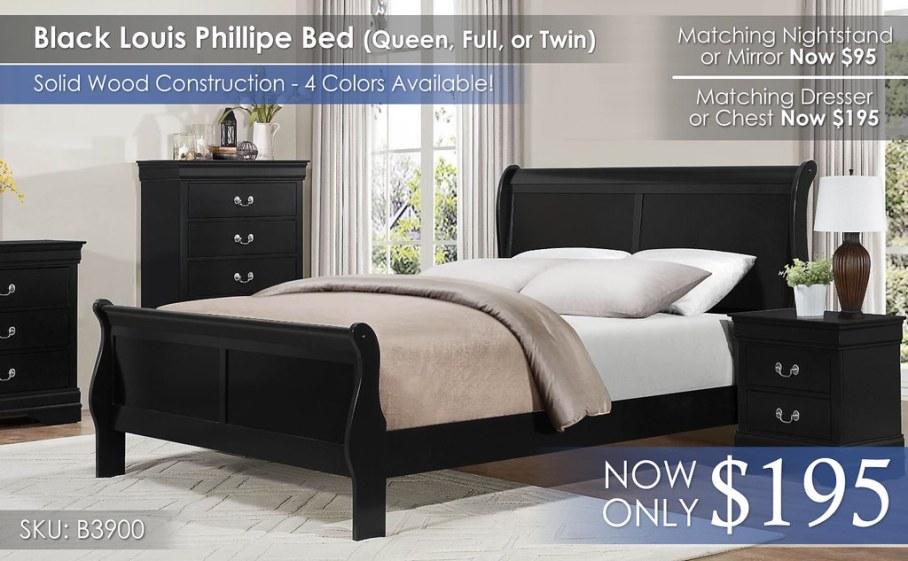 Homelegance Black Louis Phillipe 3900 Bed Only