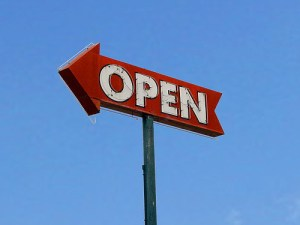 Open sign by caveman92223 on Flickr; CC BY-ND