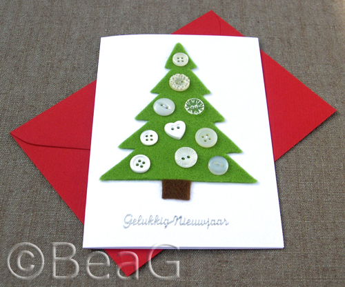Happy New Year Card Christmas Tree Made Of Felt